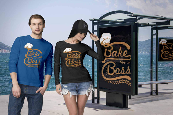 Bake Like A Boss Funny Gift Ideas For Bakers Baking Super Soft Comfy Long Sleeve-NeatFind.net