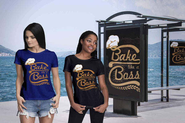 Bake Like A Boss Funny Gifts Ideas For Bakers Baking Soft Comfy Women TShirt-NeatFind.net