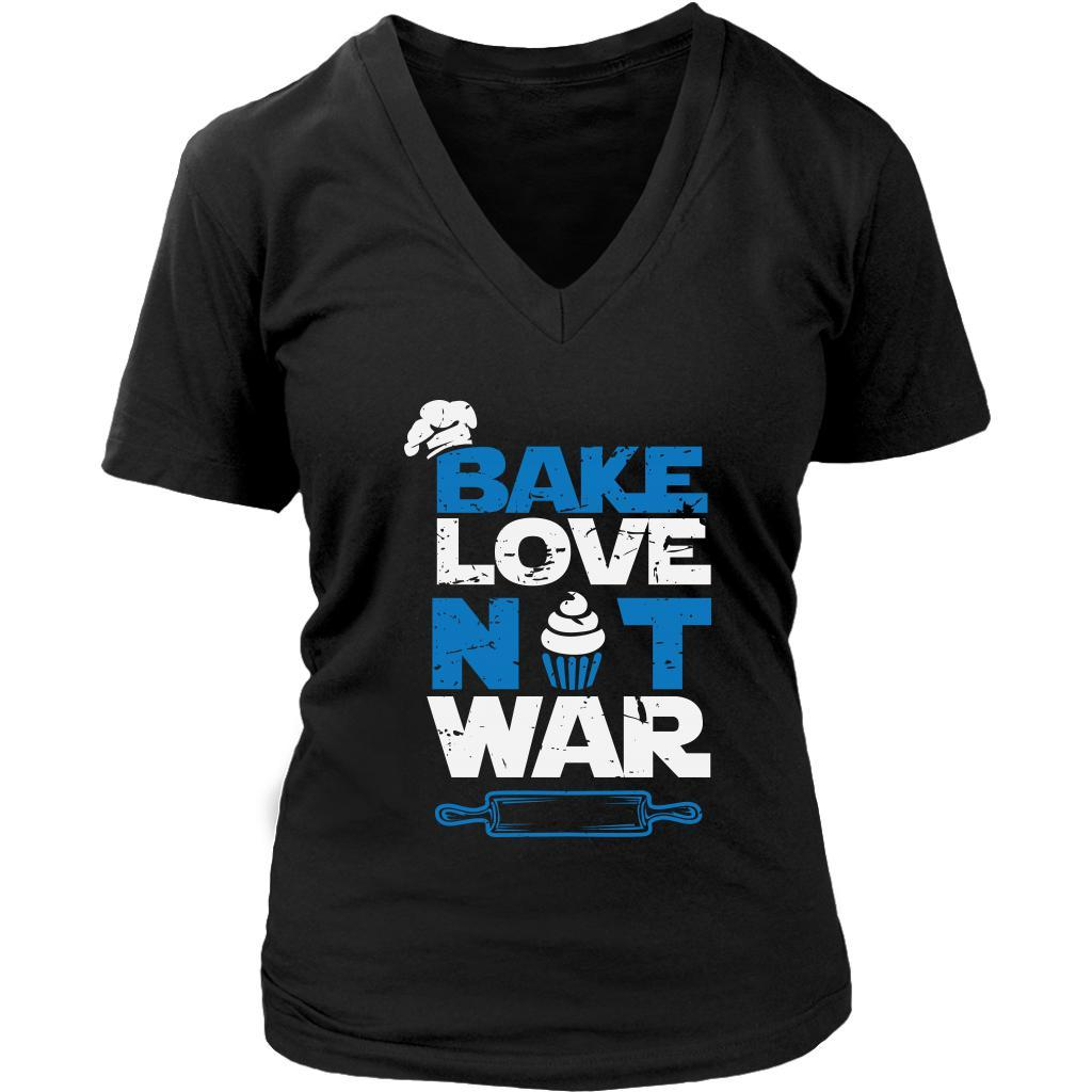 Bake Love Not War Funny Gifts Ideas For Bakers Baking Soft Comfy VNeck TShirt-NeatFind.net