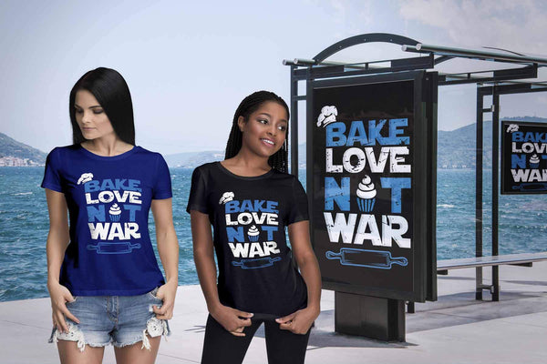 Bake Love Not War Funny Gifts Ideas For Bakers Baking Soft Comfy Women TShirt-NeatFind.net