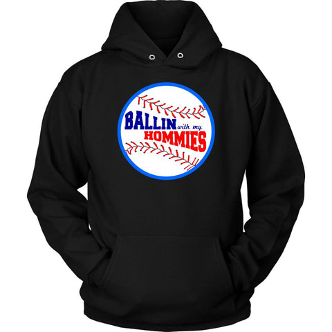 Ballin With My Homies Funny Softball Baseball Mom Quirky Gift Idea Quirky Hoodie-NeatFind.net
