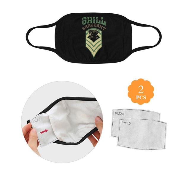 BBQ Grill Sergeant Funny Washable Reusable Cloth Face Mask With Filter Pocket-L-Black-NeatFind.net