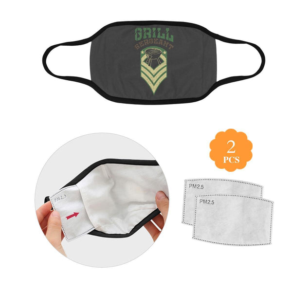 BBQ Grill Sergeant Funny Washable Reusable Cloth Face Mask With Filter Pocket-L-Grey-NeatFind.net