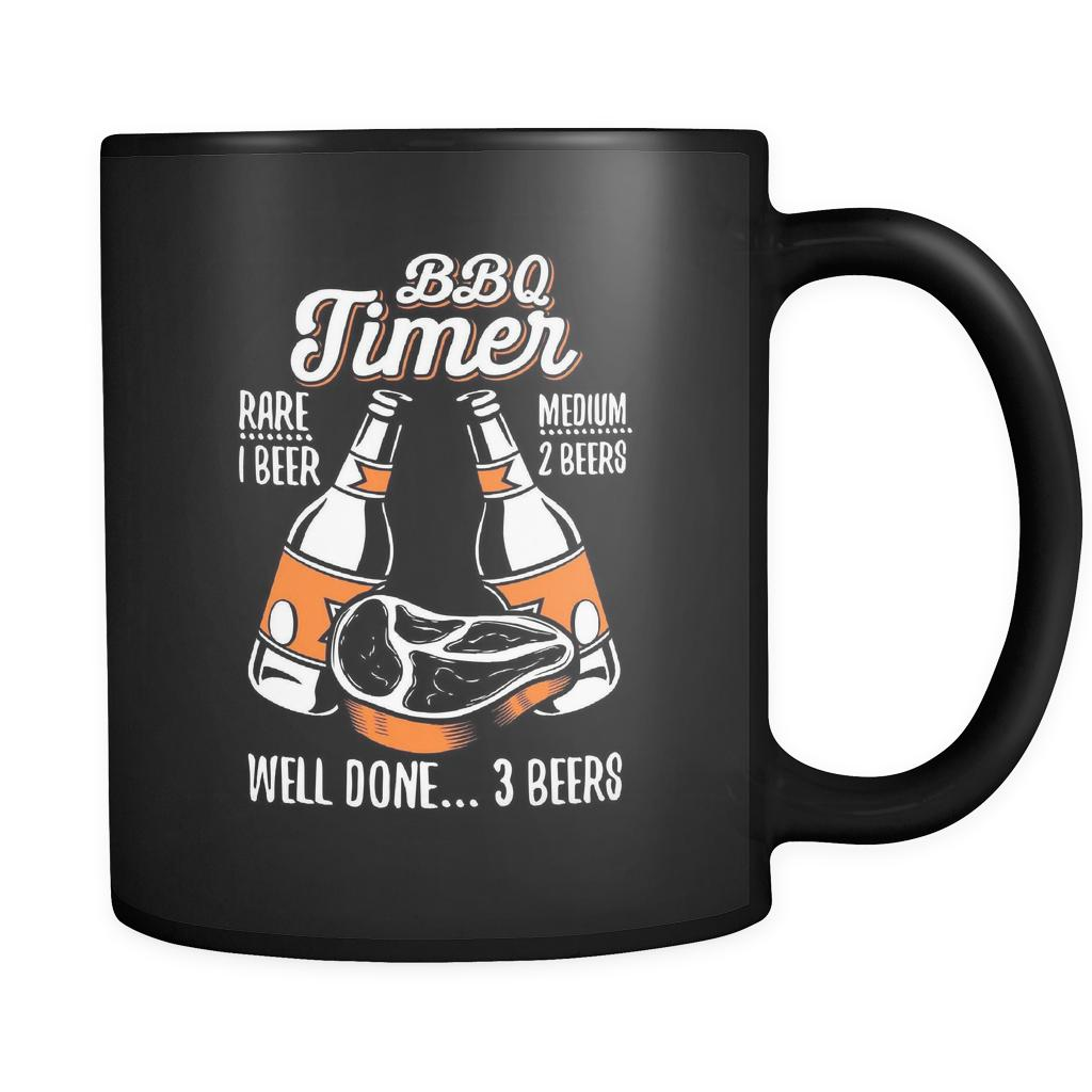 BBQ Timer Rare 1 Beer Medium 2 Beers Well Done 3 Beers Funny Gifts Black Mug-NeatFind.net