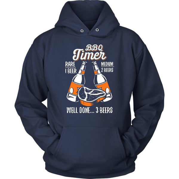 BBQ Timer Rare 1 Beer Medium 2 Beers Well Done 3 Beers Funny Unisex Hoodie-NeatFind.net