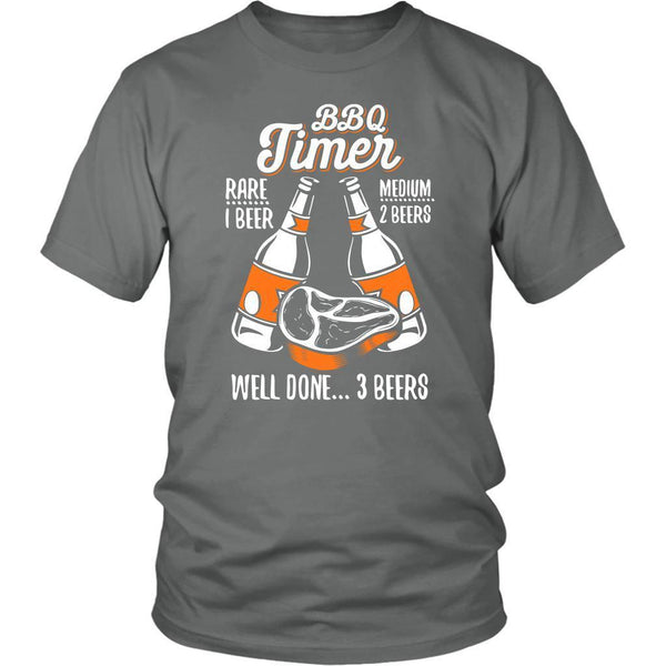 BBQ Timer Rare 1 Beer Medium 2 Beers Well Done 3 Beers Funny Unisex T-Shirt-NeatFind.net