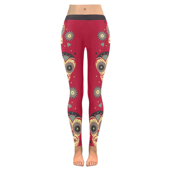 Beautiful Psychedelic Vertical Sugar Skulls Diamond Soft UPF40 Womens Leggings-NeatFind.net
