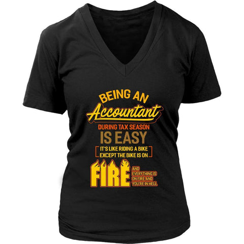 Being An Accountant During Tax Season Is Easy Bike Hell Women V-Neck-NeatFind.net
