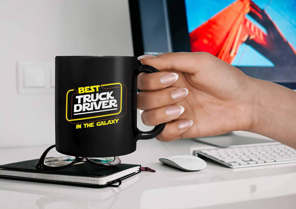 Best Truck Driver In The Galaxy Practical Funny Gifts For Truckers Black Mug-NeatFind.net