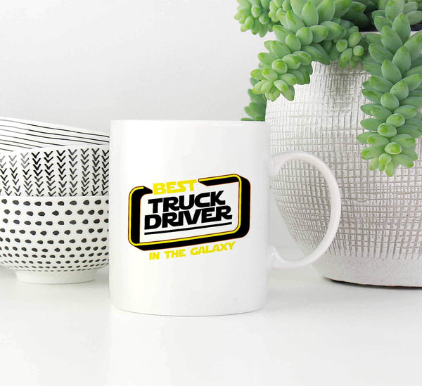 Best Truck Driver In The Galaxy Practical Funny Gifts For Truckers White Mug-NeatFind.net