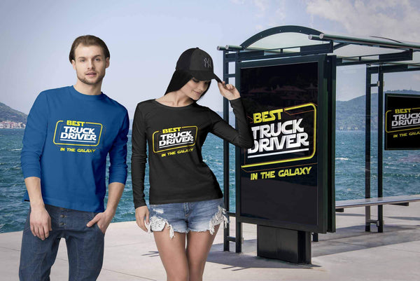 Best Truck Driver In The Galaxy Practical Funny Truckers Gifts Long Sleeve Tee-NeatFind.net