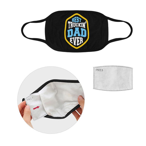Best Truckin Dad Ever Washable Reusable Cloth Face Mask With Filter Pocket-Face Mask-L-Black-NeatFind.net