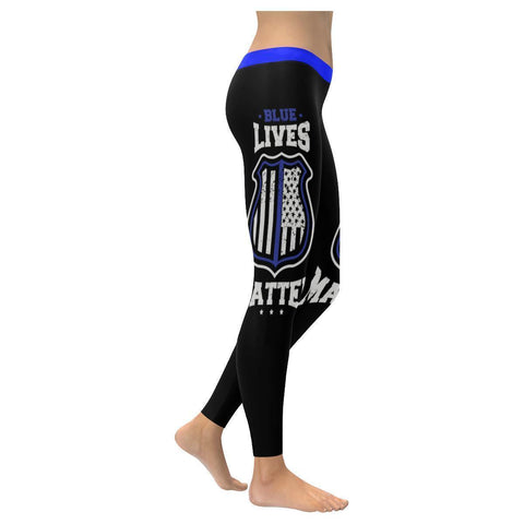 Blue Lives Matter Police Thin BLue Line UPF40+ Moisture Wicking Womens Leggings-NeatFind.net