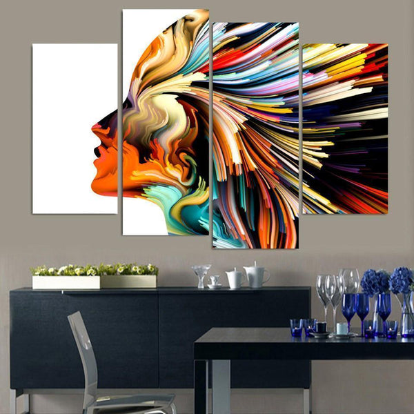Bold & Vibrant Swirl Colour Woman Hair 5-Piece Canvas Wall Art-NeatFind.net