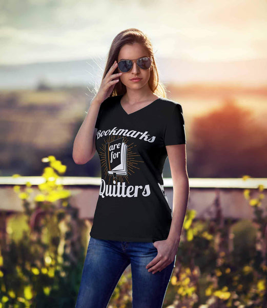 Bookmarks Are For Quitters Bibliophile Funny Avid Reader Gift Ideas Vneck TShirt-NeatFind.net
