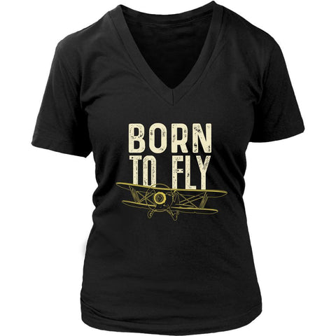 Born To Fly Awesome Cool Humor Gag Unique Aviation Funny Gift Ideas VNeck TShirt-NeatFind.net