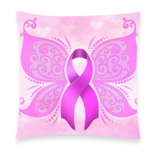 "Breast Cancer Awareness Pink Ribbon Pillow Case Without Zipper 18""x18"" (10 styles)-NeatFind.net"