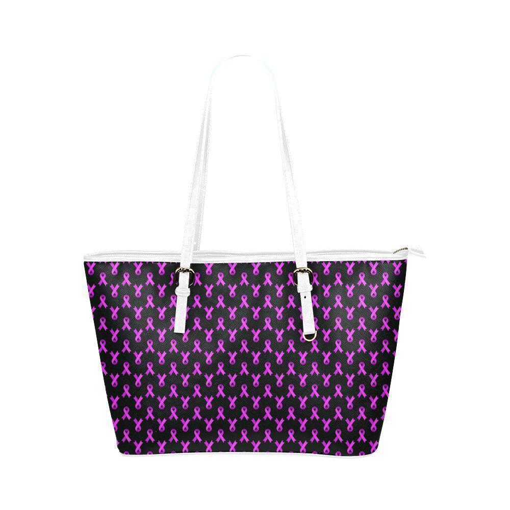 Breast Cancer Pink Ribbon #1 Water Resistant Small Leather Tote Bags (5 colors)-NeatFind.net