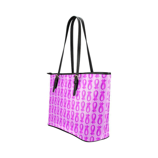 Breast Cancer Pink Ribbon #2 Water Resistant Small Leather Tote Bags (5 colors)-NeatFind.net