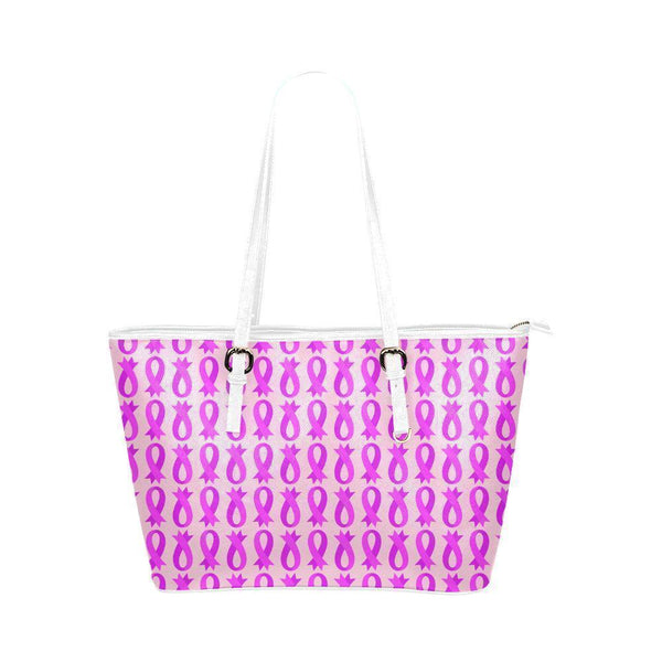 Breast Cancer Pink Ribbon #3 Water Resistant Small Leather Tote Bags (5 colors)-NeatFind.net
