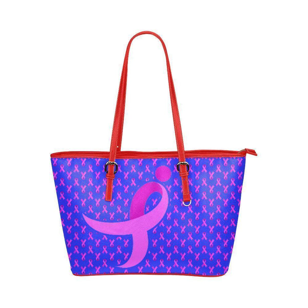 Breast Cancer Pink Ribbon #4 Water Resistant Small Leather Tote Bags (5 colors)-NeatFind.net
