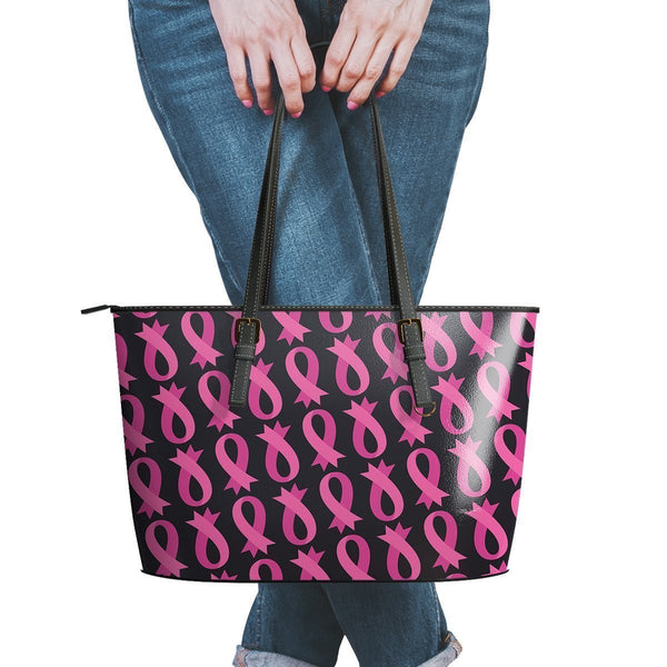 Breast Cancer Pink Ribbon #5 Water Resistant Small Leather Tote Bags (5 colors)-NeatFind.net