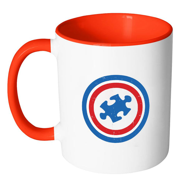 Captain America Shield Autism Awareness 11oz Accent Coffee Mug(7 Colors)-NeatFind.net