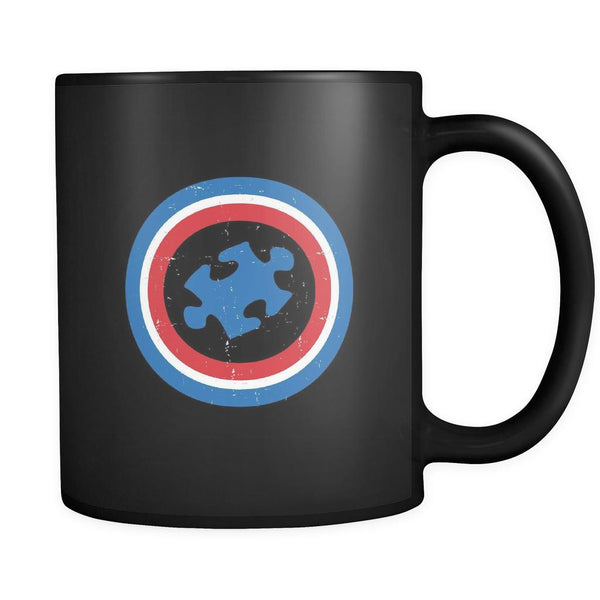 Captain America Shield Autism Awareness Black 11oz Coffee Mug-NeatFind.net