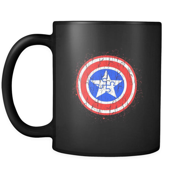 Captain America Shield Autism Awareness V2 Black 11oz Coffee Mug-NeatFind.net