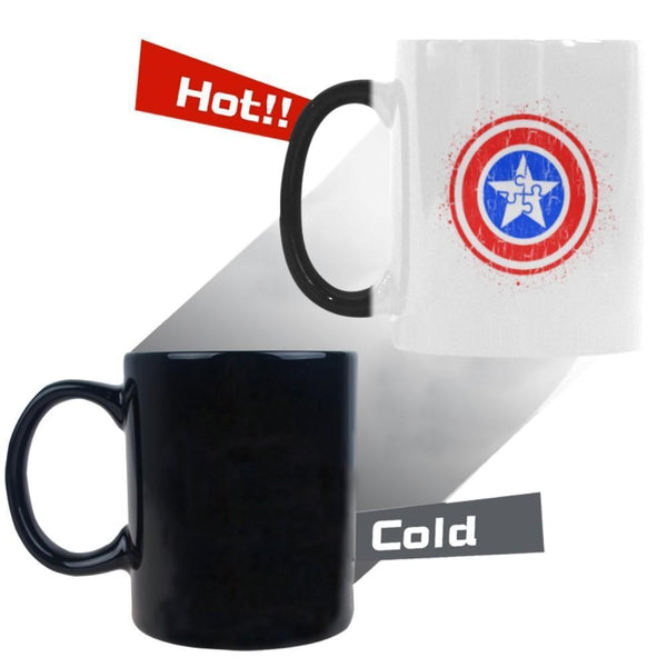 Captain America Shield Autism Awareness V2 Color Changing/Morphing 11oz Coffee Mug-NeatFind.net