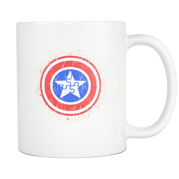 Captain America Shield Autism Awareness V2 White 11oz Coffee Mug-NeatFind.net