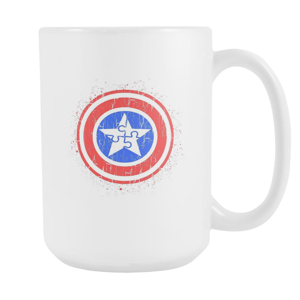 Captain America Shield Autism Awareness V2 White 15oz Coffee Mug-NeatFind.net