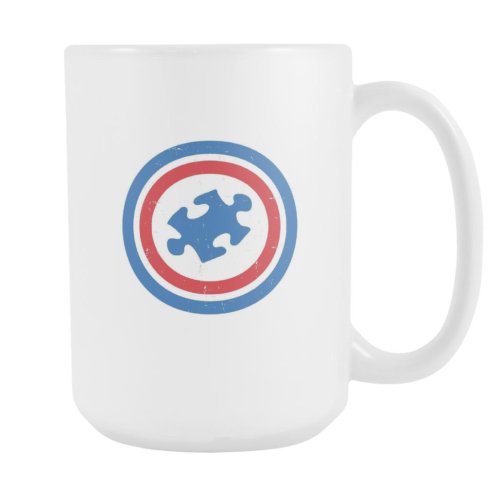 Captain America Shield Autism Awareness White 15oz Coffee Mug-NeatFind.net
