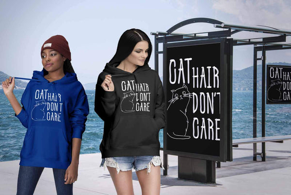 Cat Hair Dont Care Awesome Cute Funny Lovers Kitty Obsessed Gift Ideas Hoodie-NeatFind.net