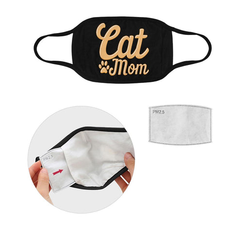 Cat Mom Funny Washable Reusable Cloth Face Mask With Filter Pocket-Face Mask-S-Black-NeatFind.net