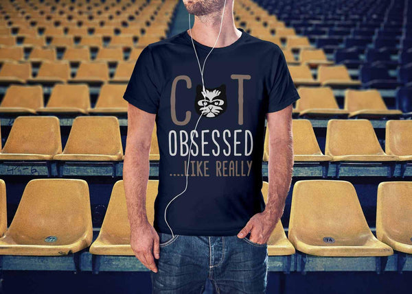 Cat Obsessed Like Really Awesome Cute Funny Kitten Lover Kitty Gift Idea TShirt-NeatFind.net