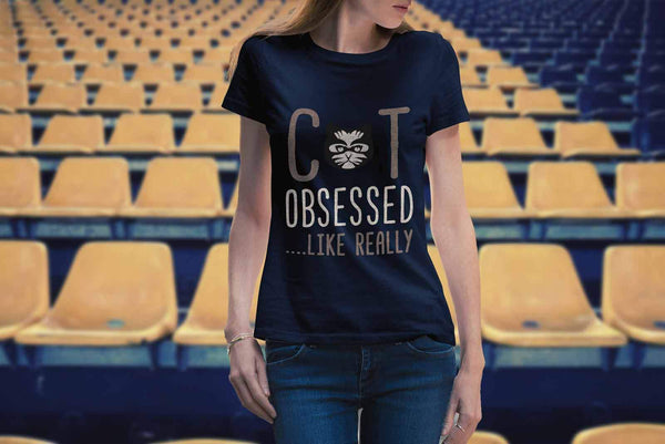 Cat Obsessed Like Really Awesome Cute Funny Kitten Lover Kitty Women's T-Shirt-NeatFind.net