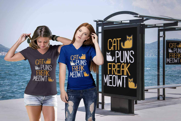 Cat Puns Freak Meowt Cute Funny Lovers Kitty Obsessed Friend V-Neck T-Shirt-NeatFind.net