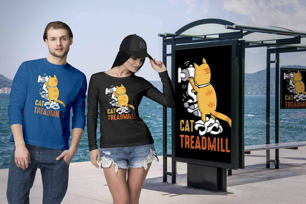 Cat Treadmill Cute Funny Kitten Lovers Kitty Obsessed Friend Long Sleeve TShirt-NeatFind.net