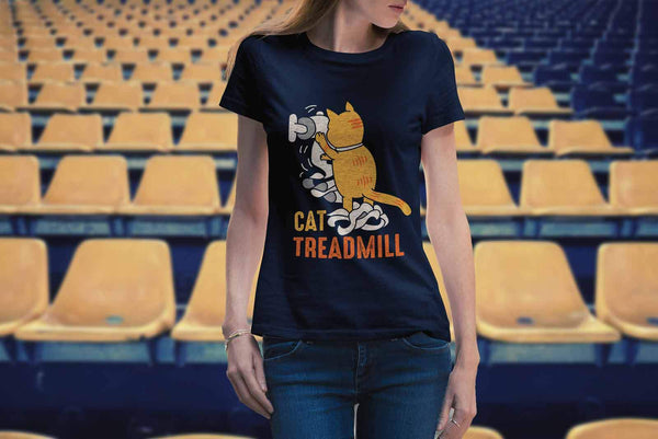 Cat Treadmill Cute Funny Kitten Lovers Kitty Obsessed Friend Women's T-Shirt-NeatFind.net