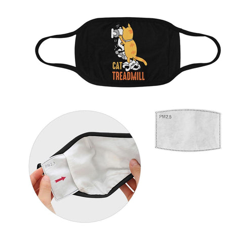 Cat Treadmill Funny Washable Reusable Cloth Face Mask With Filter Pocket-Face Mask-S-Black-NeatFind.net