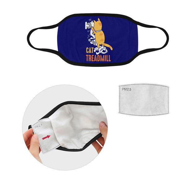 Cat Treadmill Funny Washable Reusable Cloth Face Mask With Filter Pocket-Face Mask-S-Navy-NeatFind.net