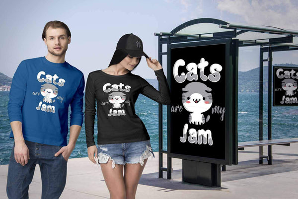 Cats Are My Jam Cute Funny Kitten Lover Kitty Obsessed Friend Long Sleeve TShirt-NeatFind.net