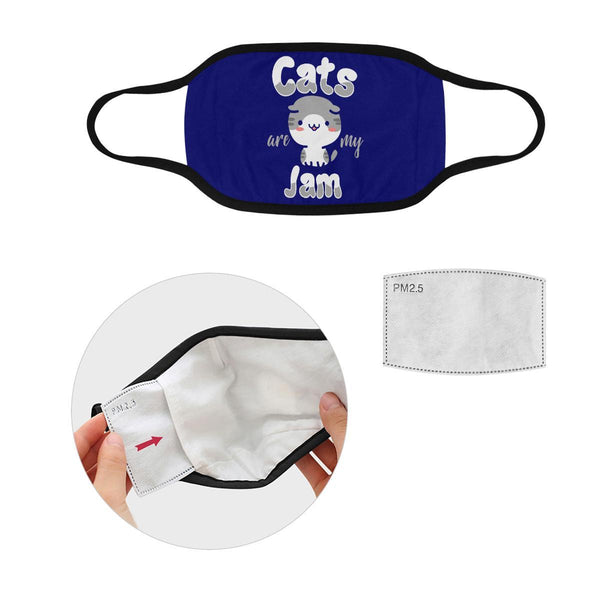Cats Are My Jam Funny Washable Reusable Cloth Face Mask With Filter Pocket-Face Mask-S-Navy-NeatFind.net