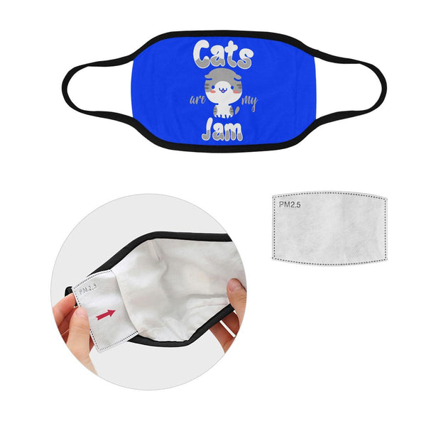 Cats Are My Jam Funny Washable Reusable Cloth Face Mask With Filter Pocket-Face Mask-S-Royal Blue-NeatFind.net