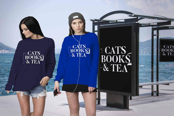 Cats Books & Tea Bibliophile Bookworms Funny Avid Readers Gift Ideas Sweater-NeatFind.net