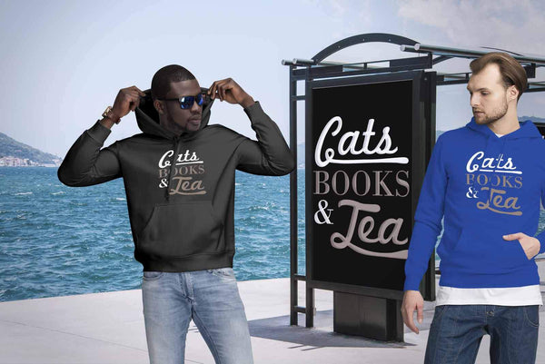Cats Books & Tea Cute Funny Cat Lovers Kitty Obsessed Friend Gift Ideas Hoodie-NeatFind.net