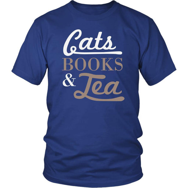 Cats Books & Tea Cute Funny Cat Lovers Kitty Obsessed Friend Gift Ideas TShirt-NeatFind.net