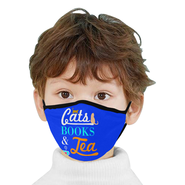 Cats Books & Tea Funny Washable Reusable Cloth Face Mask With Filter Pocket-Face Mask-NeatFind.net