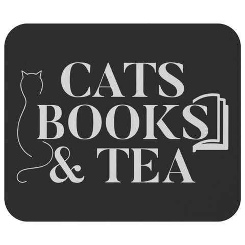 Cats Books & Tea Unique Avid Reader Cute Funny Book Lover Gift Ideas Mousepad-NeatFind.net